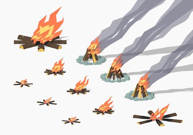 Zestaw ognisk izometrycznych 3d lowpoly