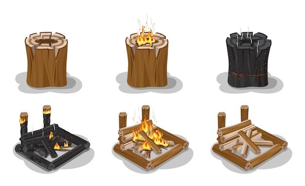 Zestaw ognisko na białym tle