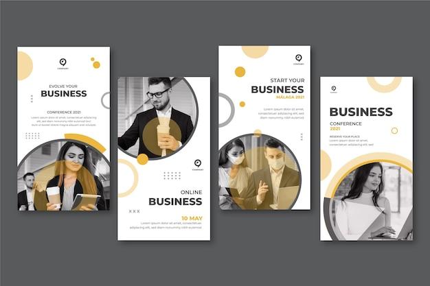 Zestaw ogólnych historii biznesowych na instagramie