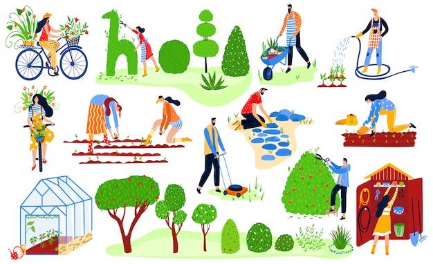 Zestaw ogrodników, wiosenny ogród ekologiczny, rośliny i gadernery pracują ilustracji rolnictwa kobiety i mężczyźni podlewający rośliny.