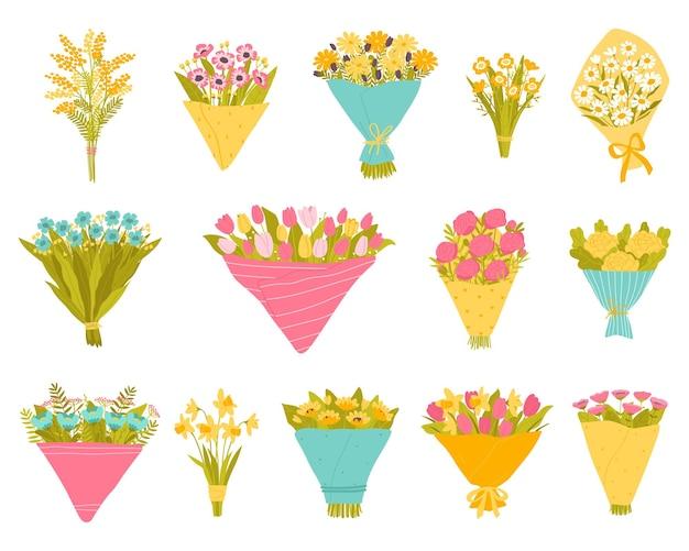 Zestaw ogrodowych i dziko kwitnących kwiatów w bukietach ilustracja wektorowa w stylu płaski