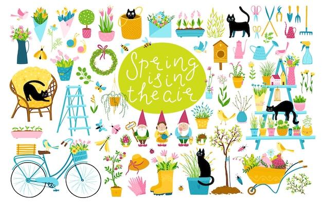 Zestaw ogrodowych wiosennych czarnych kotów. duży zbiór elementów kreskówek w prostym dziecięcym, ręcznie rysowanym stylu.