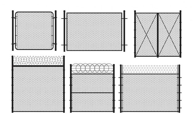 Zestaw ogrodzeń i bram z drutu metalowego silhouette. ilustracja.
