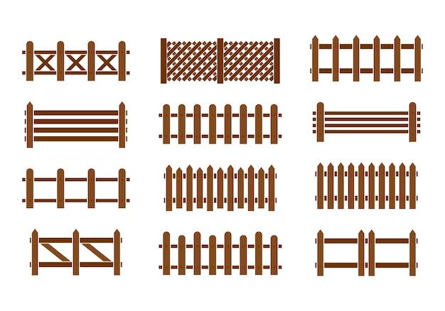 Zestaw ogrodzenia z drewna. różne wzory ogrodzeń i ścian.