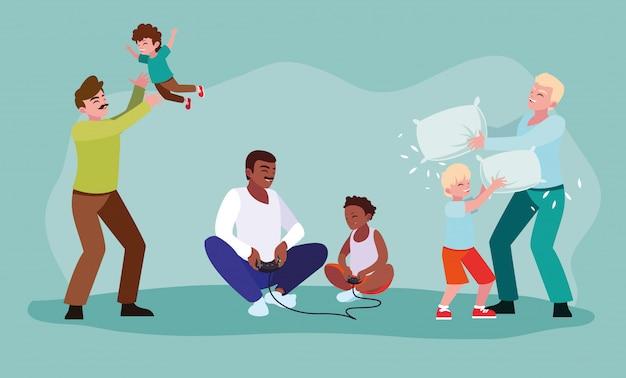 Zestaw ojców, grając z synami