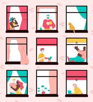 Zestaw okien budynku mieszkalnego z postaciami z kreskówek sąsiadów
