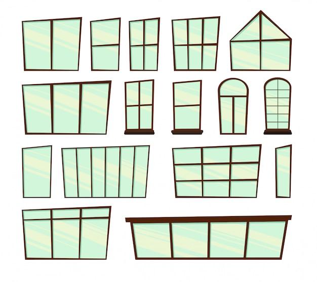 Zestaw okien do. styl kreskówki. ilustracja.