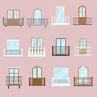 Zestaw okien i balkonów. klasyczne i stare balkony architektury vintage z dekoracjami ogrodzeniowymi.