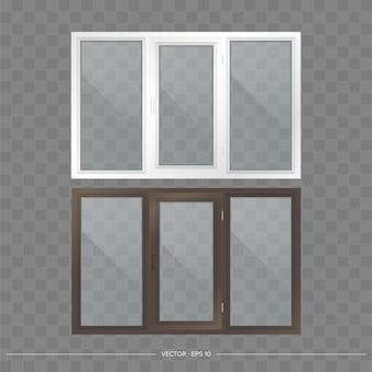 Zestaw okienek metalowo-plastikowych z przezroczystymi szkłami. nowoczesne okna w realistycznym stylu. wektor.