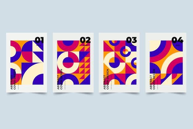 Zestaw okładek abstrakcyjne kształty gradientu