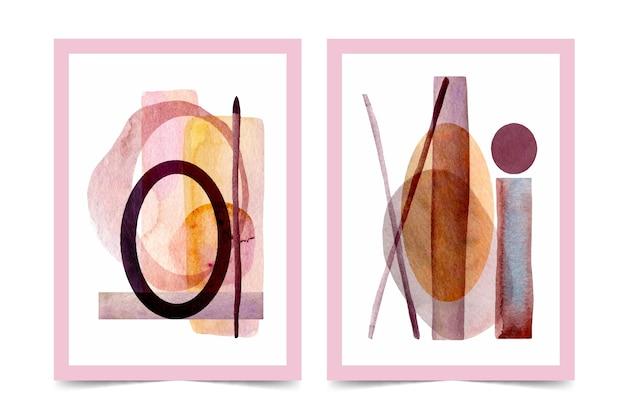 Zestaw okładek abstrakcyjnych kształtów akwarela