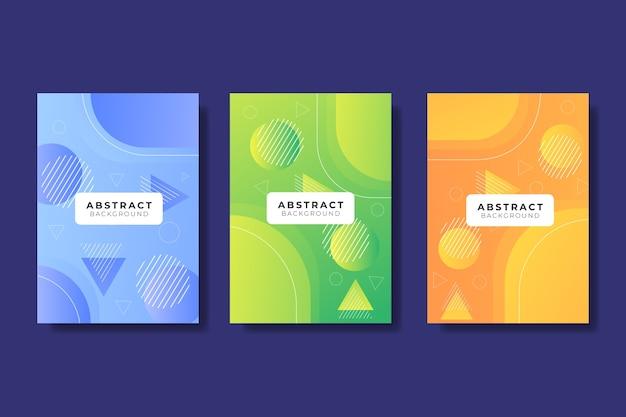 Zestaw okładek abstrakcyjnych modeli gradientu