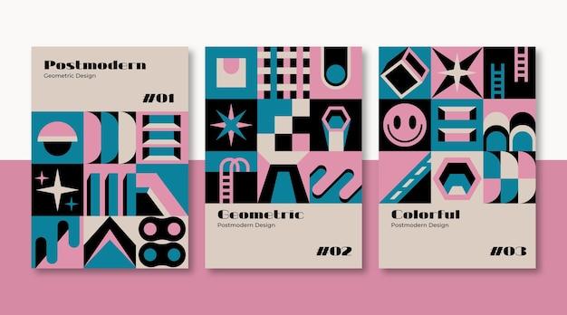 Zestaw okładek biznesowych w nowej estetyce modernizmu
