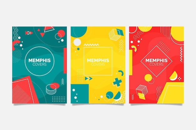 Zestaw okładek geometrycznych kształtów memphis
