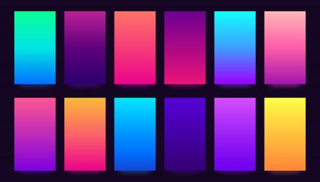 Zestaw okładek gradientowych, kolorowe gradienty, niewyraźne kolory i żywy smartfon