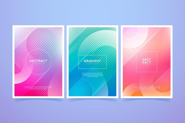 Zestaw okładek gradientu abstrakcyjnych kształtów