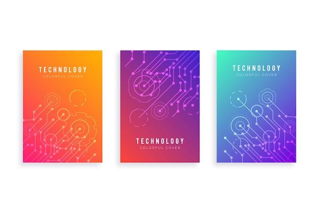 Zestaw okładek gradientu technologii