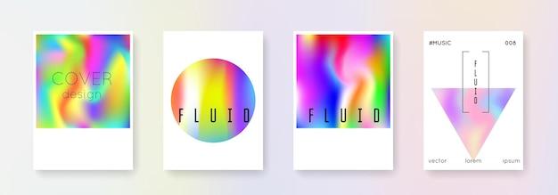 Zestaw okładek holograficznych. abstrakcyjne tła. wibrująca holograficzna okładka z gradientową siatką. lata 90-te, 80-te w stylu retro. opalizujący szablon graficzny do broszury, banera, tapety, ekranu mobilnego
