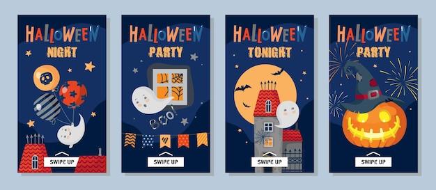 Zestaw okładek na halloween do historii na instagramie: dynia, kapelusz, zamek, duchy, fajerwerki, gwiazdy. wektor clipart, na białym tle.