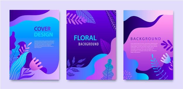 Zestaw okładek natury, broszury, szablony projektów raportów rocznych dla urody, spa, odnowy biologicznej, produktów naturalnych, kosmetyków, mody, opieki zdrowotnej. fioletowe rośliny, koncepcja dynamiczna fal