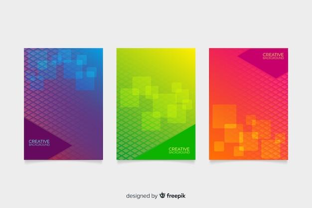 Zestaw okładek o geometrycznym wzorze
