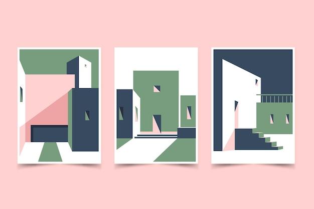 Zestaw okładek o minimalnej architekturze