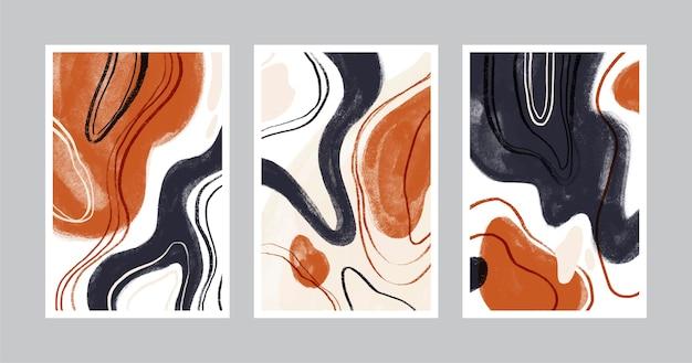 Zestaw okładek ręcznie rysowane abstrakcyjne kształty