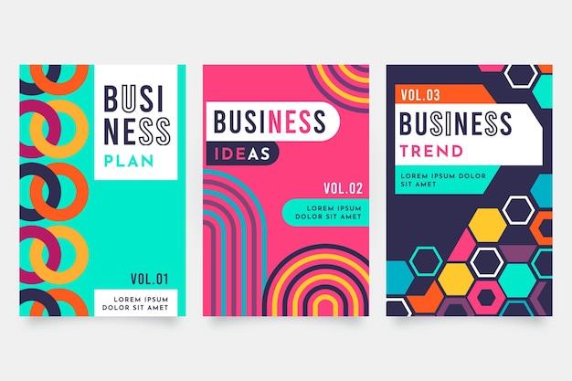 Zestaw okładek streszczenie geometryczny biznes