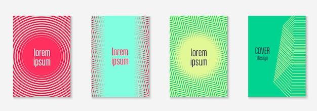 Zestaw okładek streszczenie. minimalny modny wektor z gradientami półtonów. geometryczny przyszły szablon ulotki, plakatu, broszury i zaproszenia. minimalistyczna kolorowa okładka. ilustracja abstrakcyjne kształty.