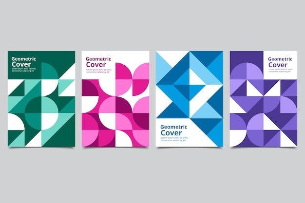 Zestaw okładek w kolorowe kształty geometryczne