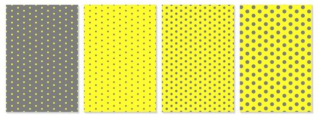 Zestaw okładek w kropki. kolory żółty i szary streszczenie projekt okładki. modne plakaty geometryczne.