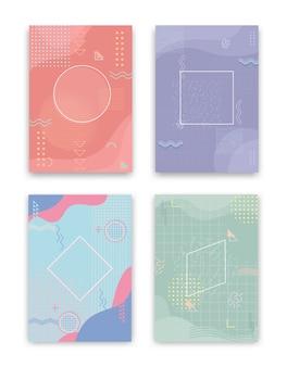 Zestaw okładek w stylu neo memphis. kolekcja fajnych, jasnych okładek. abstrakcyjne kształty kompozycji. wektor.
