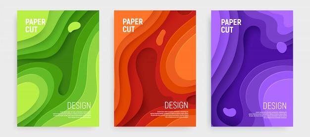 Zestaw okładek wycinanych papierem ze szlamami 3d abstrakcyjnymi warstwami zieleni, pomarańczy, fioletu i fal.
