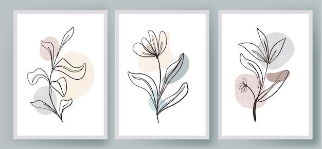 Zestaw okładek z abstrakcyjnych ilustracji kwiatów i roślin