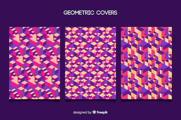 Zestaw okładek z kolorowym wzorem geometrycznym
