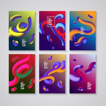Zestaw okładek z płynnymi kolorami kształtów. streszczenie kolorowa linia krzywej. sol
