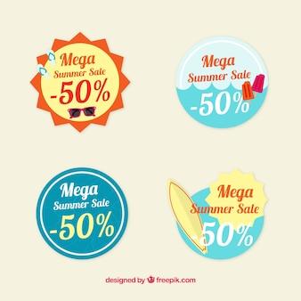 Zestaw okrągłe letnie etykiety sprzedaży