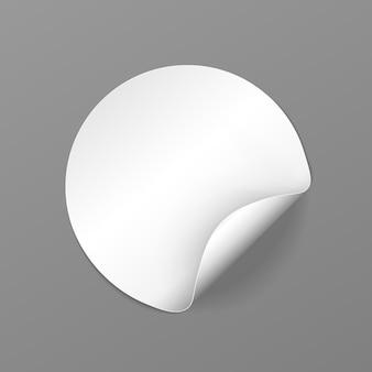 Zestaw okrągłej białej etykiety samoprzylepnej z wygiętą krawędzią wektorowa etykieta kartonowa