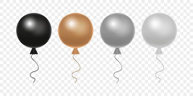 Zestaw okrągłych balonów. jasne realistyczne balony - czarne, złote, srebrne i białe.