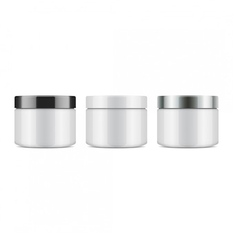 Zestaw Okrągłych Białych Plastikowych Słoiczków Z Wieczkiem Na Kosmetyki. Szablon Premium Wektorów