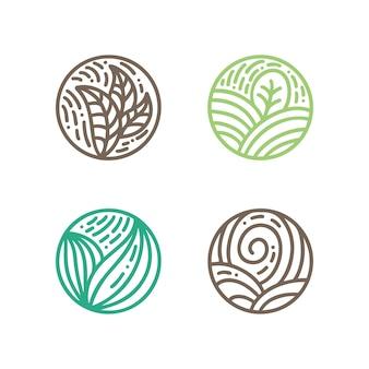 Zestaw okrągłych emblematów bio w stylu liniowym koło.