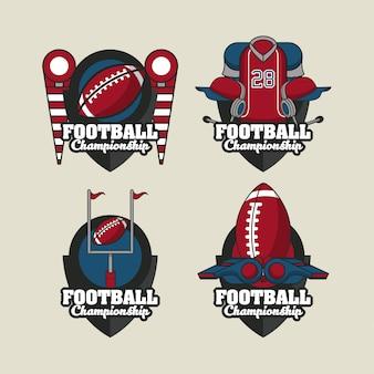 Zestaw okrągłych emblematów sportowych piłki nożnej