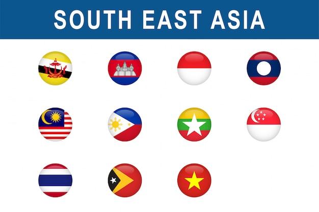Zestaw okrągłych flag krajów azji południowo-wschodniej