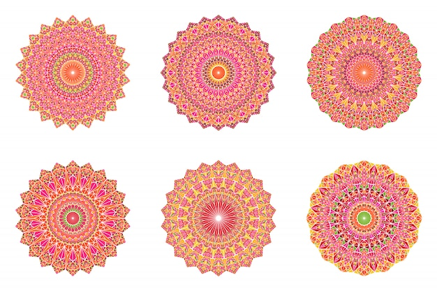Zestaw okrągłych geometryczne streszczenie kwiecisty mandali