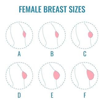 Zestaw okrągłych ikon linii o różnych kobiecych rozmiarach piersi widok z boku różne rozmiary piersi