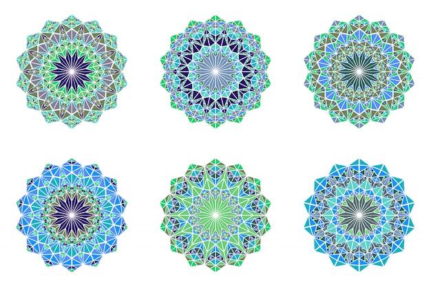 Zestaw okrągłych kolorowych mandali logo - wielokątne ozdobne elementy wektorowe