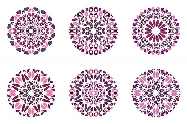 Zestaw okrągłych kolorowych streszczenie kamień mandali symbol