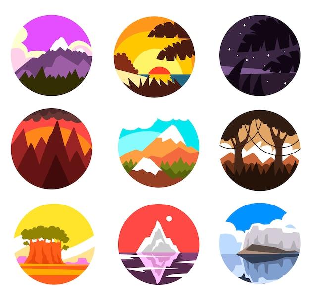 Zestaw okrągłych krajobrazów dzikiej przyrody, tropikalnych, górskich, północnych krajobrazów o różnych porach dnia, ilustracje na białym tle