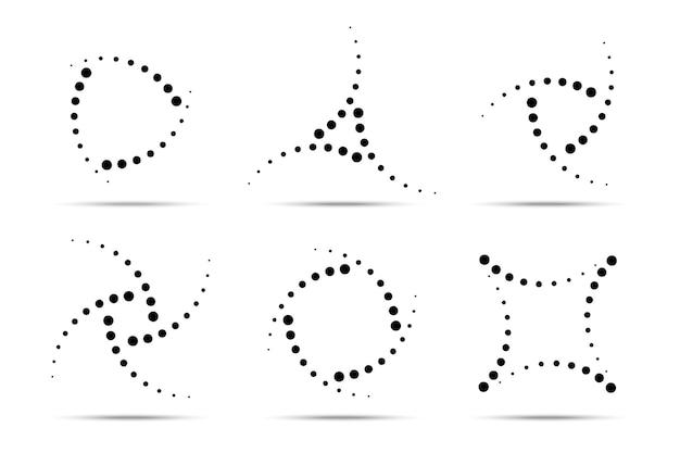 Zestaw okrągłych kropkowanych ramek półtonów. kropki w okręgu