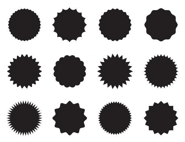 Zestaw okrągłych naklejek z różnymi krawędziami.
